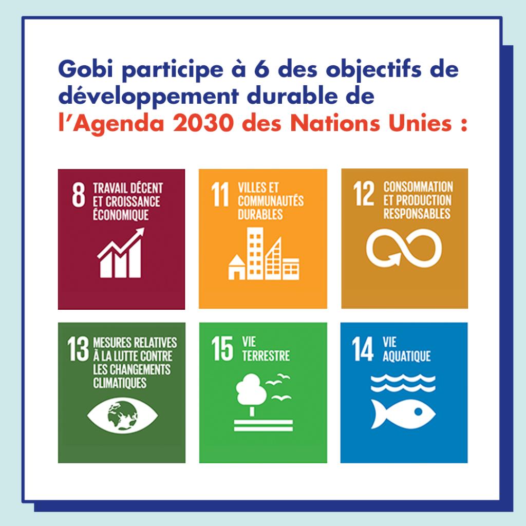 Gobi participe à 6 des objectifs de développement durable de l'Agenda 2030 des Nations Unis